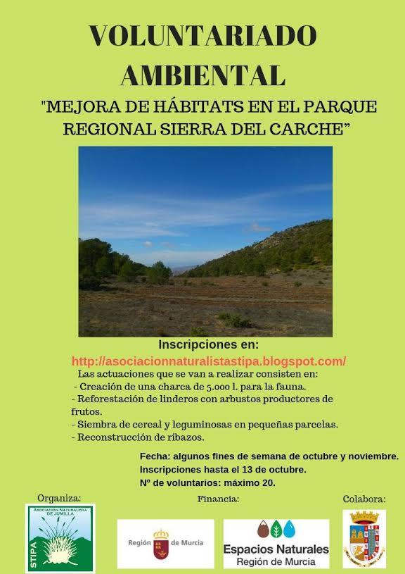 Voluntariado para la 'Mejora de hábitats en el Parque Regional Sierra de El Carche', con Stipa