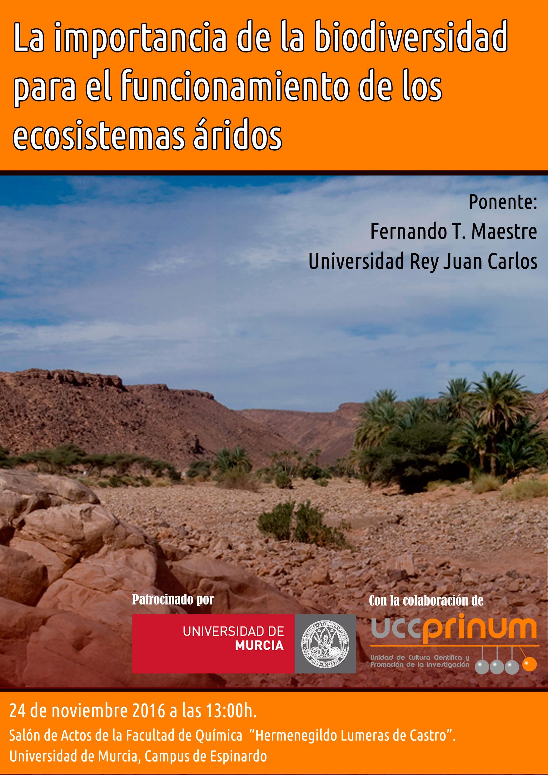 Conferencia sobre la biodiversidad en ecosistemas áridos, con UCC Prinum