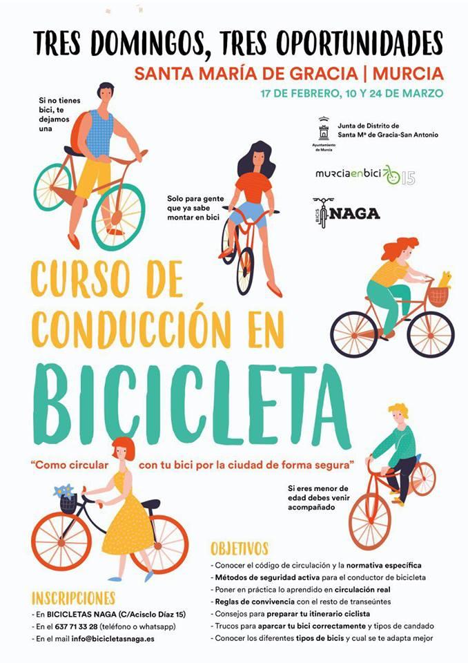 Curso de conducción de bicis, con Murcia en Bici