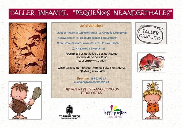 Taller 'Pequeños neandertales', con Ayto. de Torre Pacheco