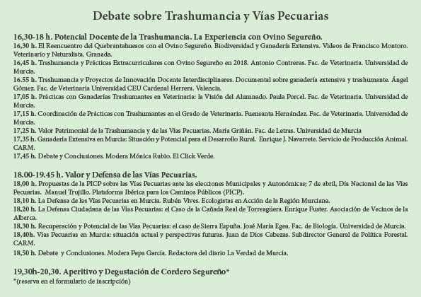 programa del Debate sobre Trashumancia y Vías Pecuarias, con la UMU