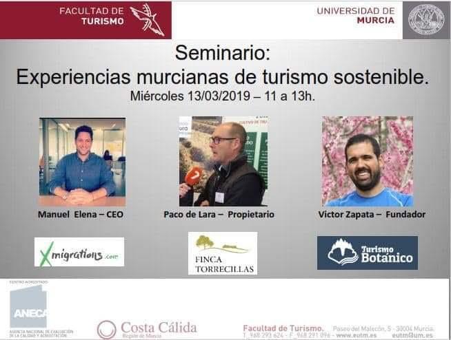 Seminario de Turismo sostenible, con la UMU
