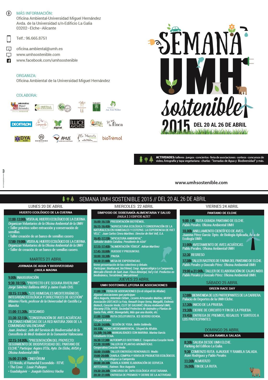 Semana Sostenible UMH 2015. Programa