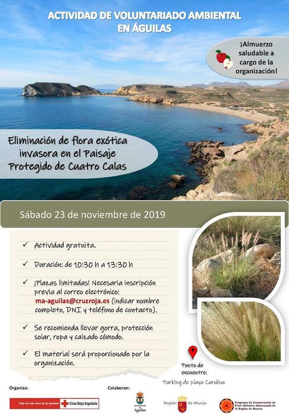 Eliminación de flora exótica invasora en Cuatro Calas, con Cruz Roja