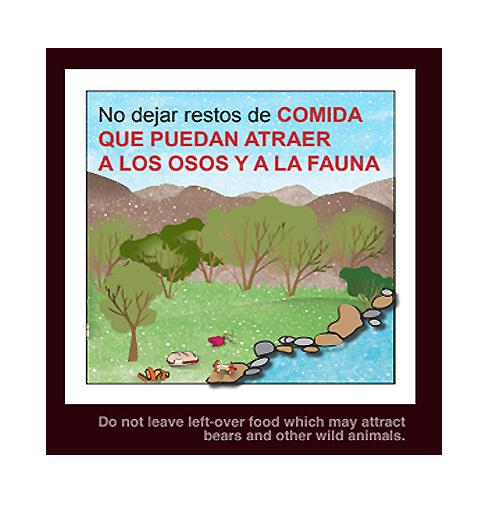 """""""No dejar restos de comida que pueda atraer a los osos y a la fauna"""" (Recomendación 6 de FOP)"""