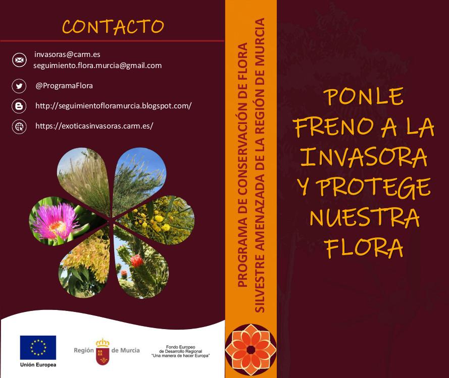 Foleto 'Ponle freno a la invasora y protege nuestra flora' , de la CARM