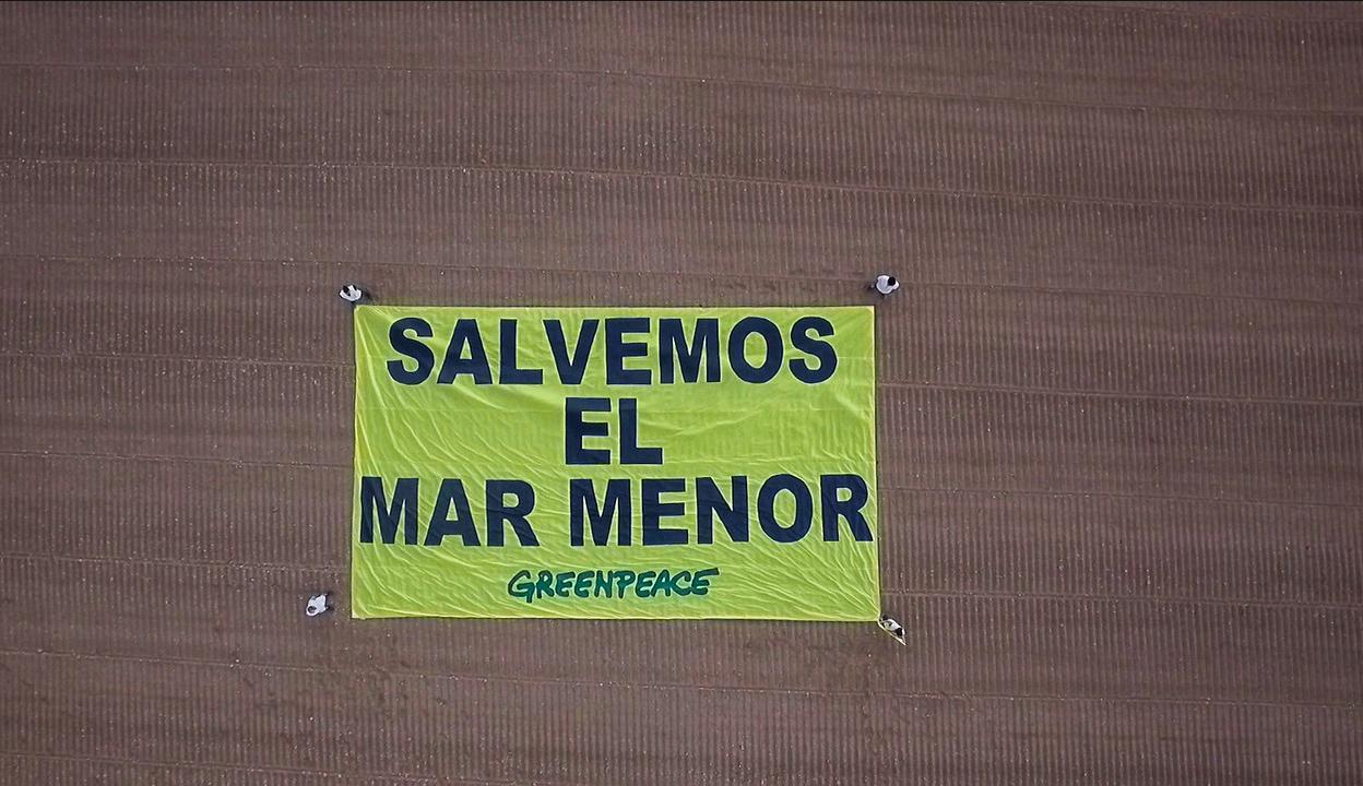 Pancarta principal. Imagen cedida por Pacto por el Mar Menor