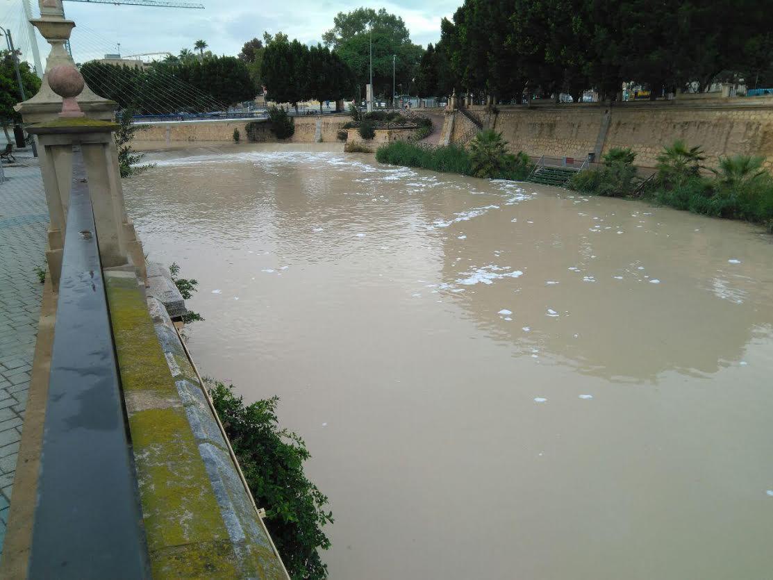 Espumas en el río Segura esta mañana. Imagen: Huermur