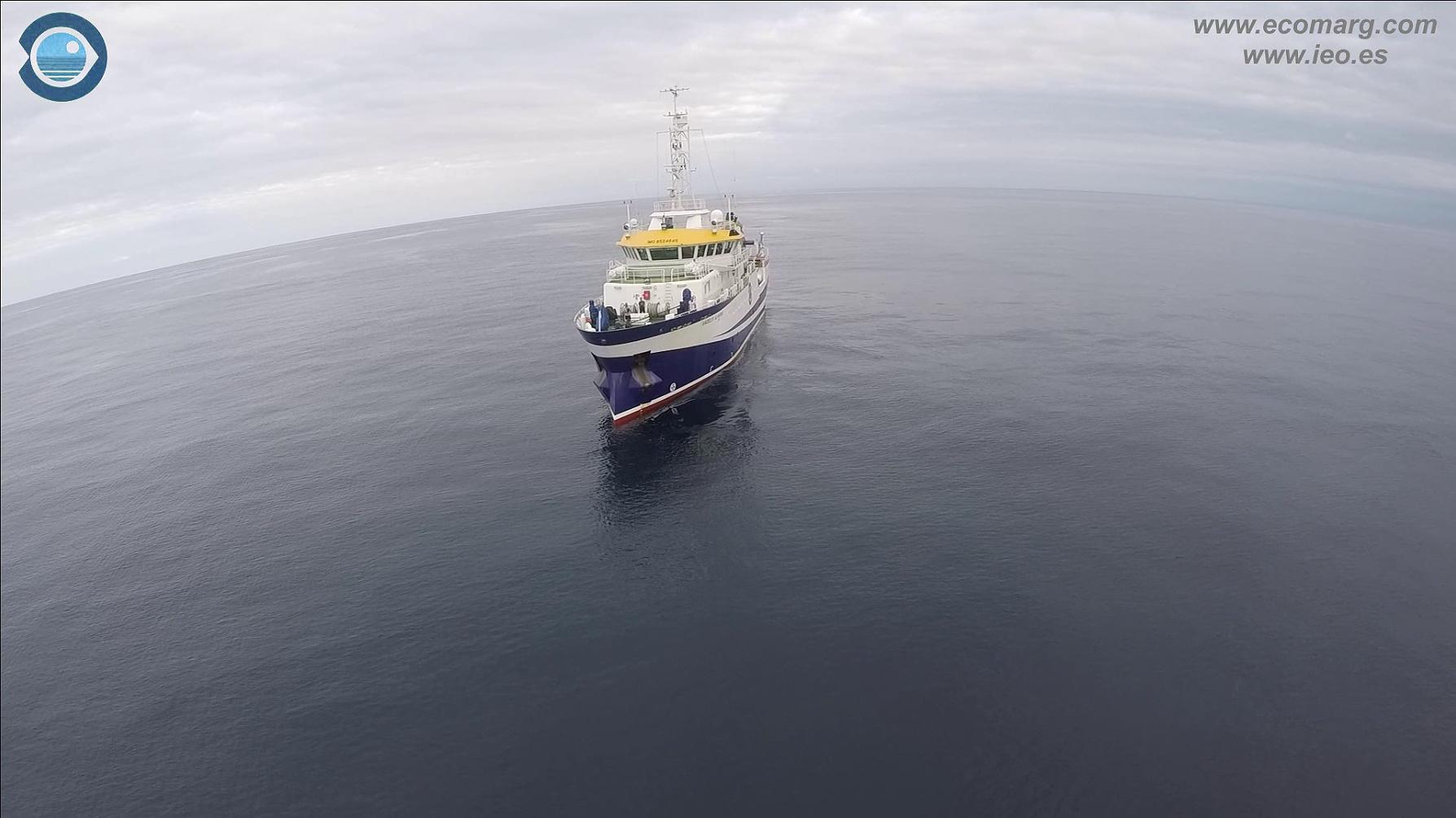 Buque oceanográfico Ángeles Alvariño. Fotograma extraído del vídeo promocional. Imagen: IEO