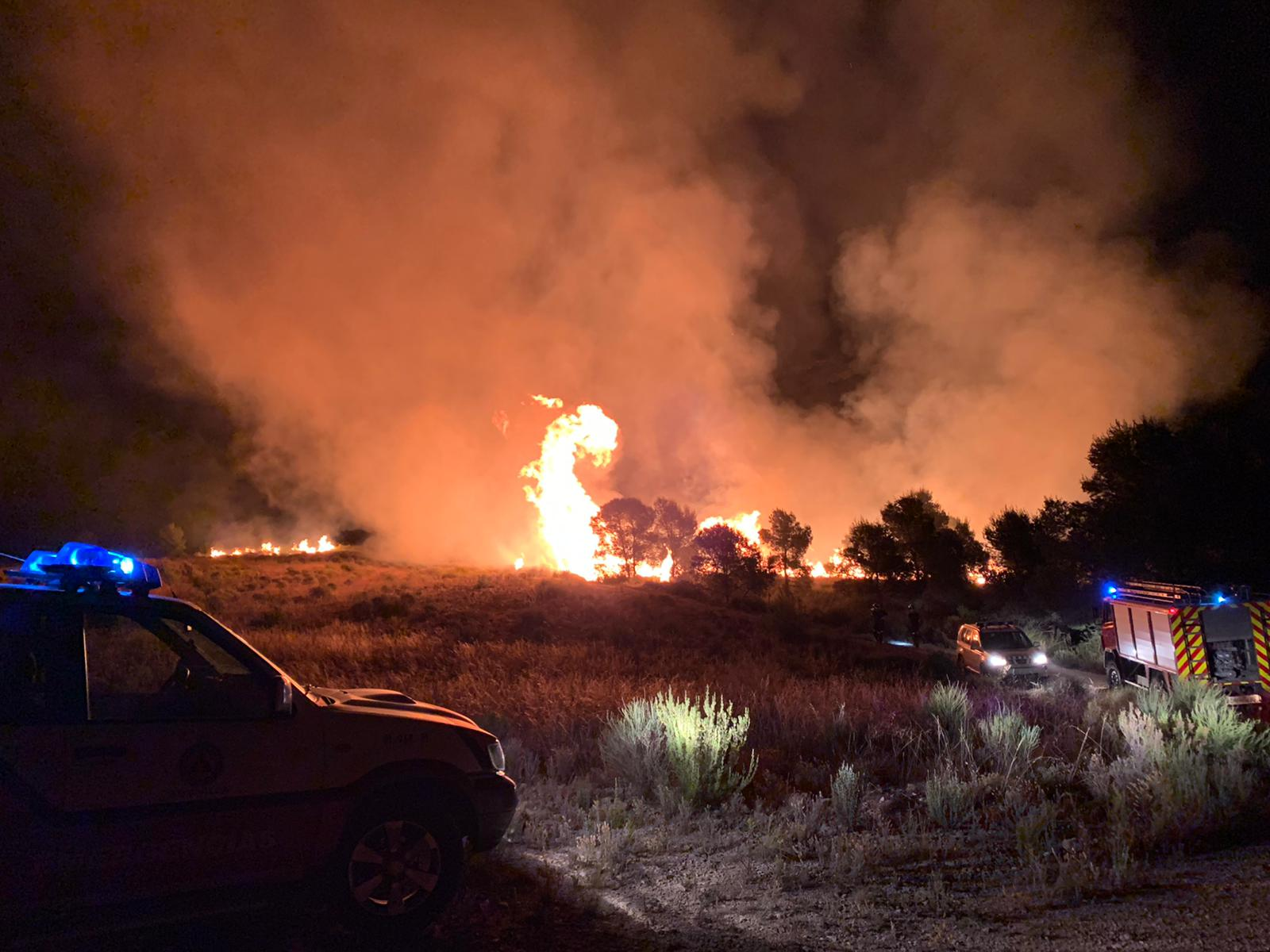 Incendio de esta noche en Balonga (Abanilla). Imagen: Protección Civil Abanilla