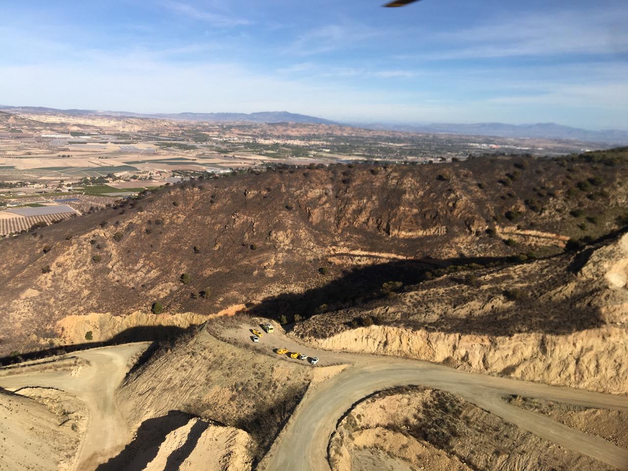 Aspecto de la zona afectada. Imagen: 1-1-2, desde el helicóptero de la D. G. de Seguridad Ciudadana y Emergencias de la Región de Murcia