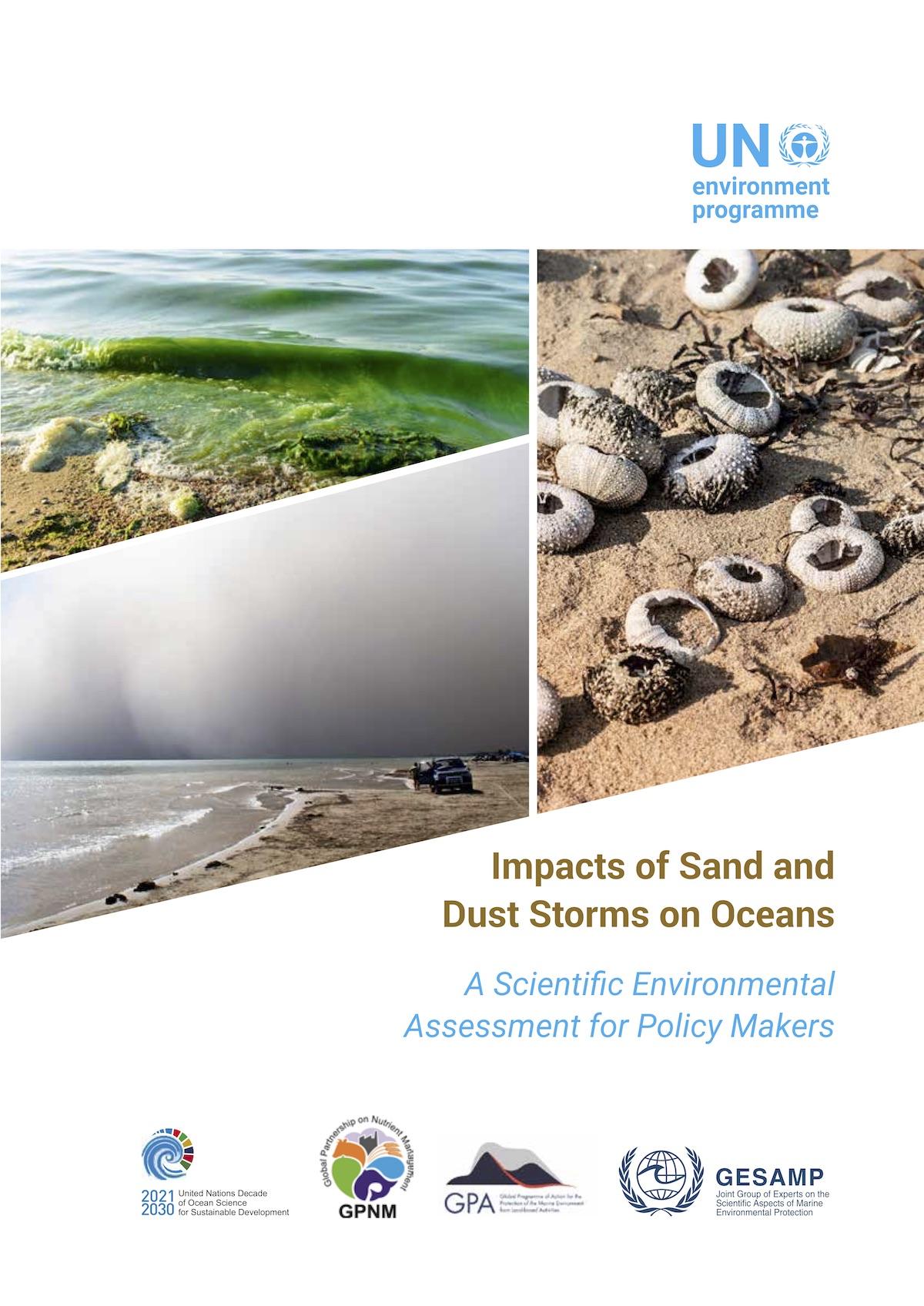 Portada del informe del Pnuma ' Impactos de las tormentas de arena y polvo en los océanos: una evaluación ambiental científica para responsables políticos'