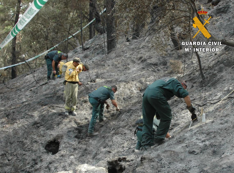 Toma de muestras en el incendio forestal cometido en el  término municipal de Yeste (Albacete) en el mes de agosto de 2019. Imagen: Seprona