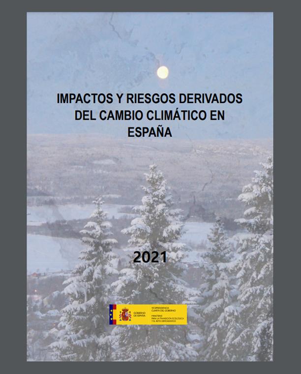 Portada del informe 'Impactos y riesgos derivados del cambio climático en España'. Imagen: Miteco