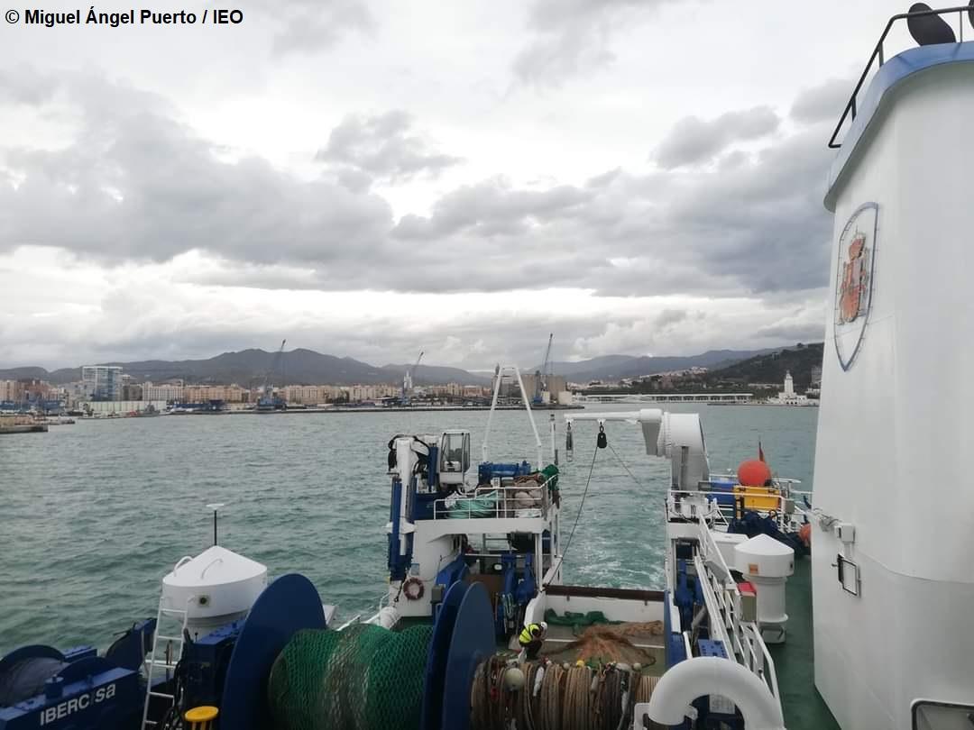 El buque oceanográfico Miguel Oliver partiendo ayer del puerto de Málaga. Imagen: Miguel Ángel Puerto / IEO