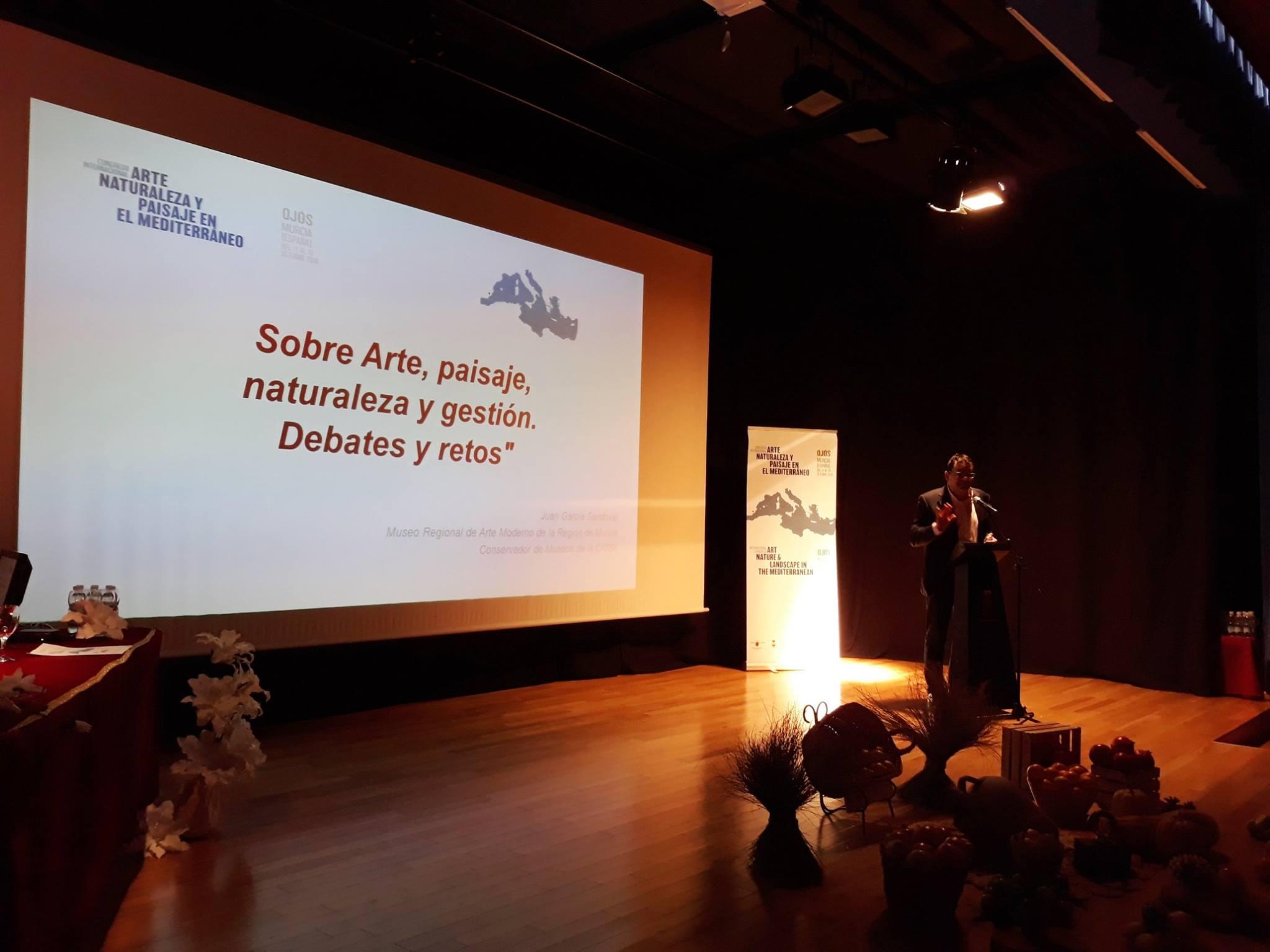 Juan García Sandoval, durante la inauguración del Congreso. Imagen: Congreso Internacional de Arte, Naturaleza y Paisaje en el Mediterráneo