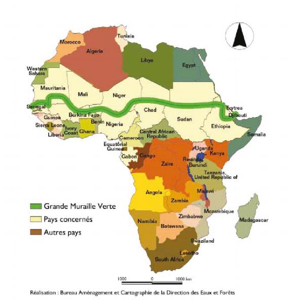 Impresionante trazado de la Gran Muralla Verde. Agencia Panafricana de la Gran Muralla Verde