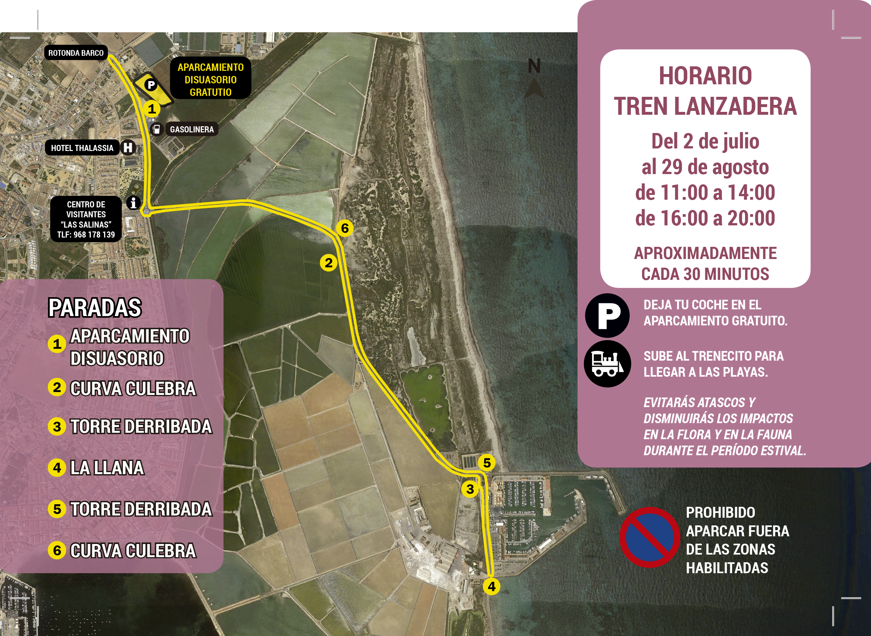 itinerario del tren lanzadera del PR de las Salinas y Arenales de San Pedro del Pinatar. imagen: CArm