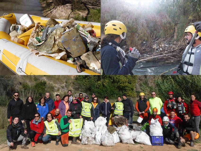 Varios momentos de la jornada de limpieza en el Cañón de Almadenes. Imagen: Cañón y Cañón Multiaventura