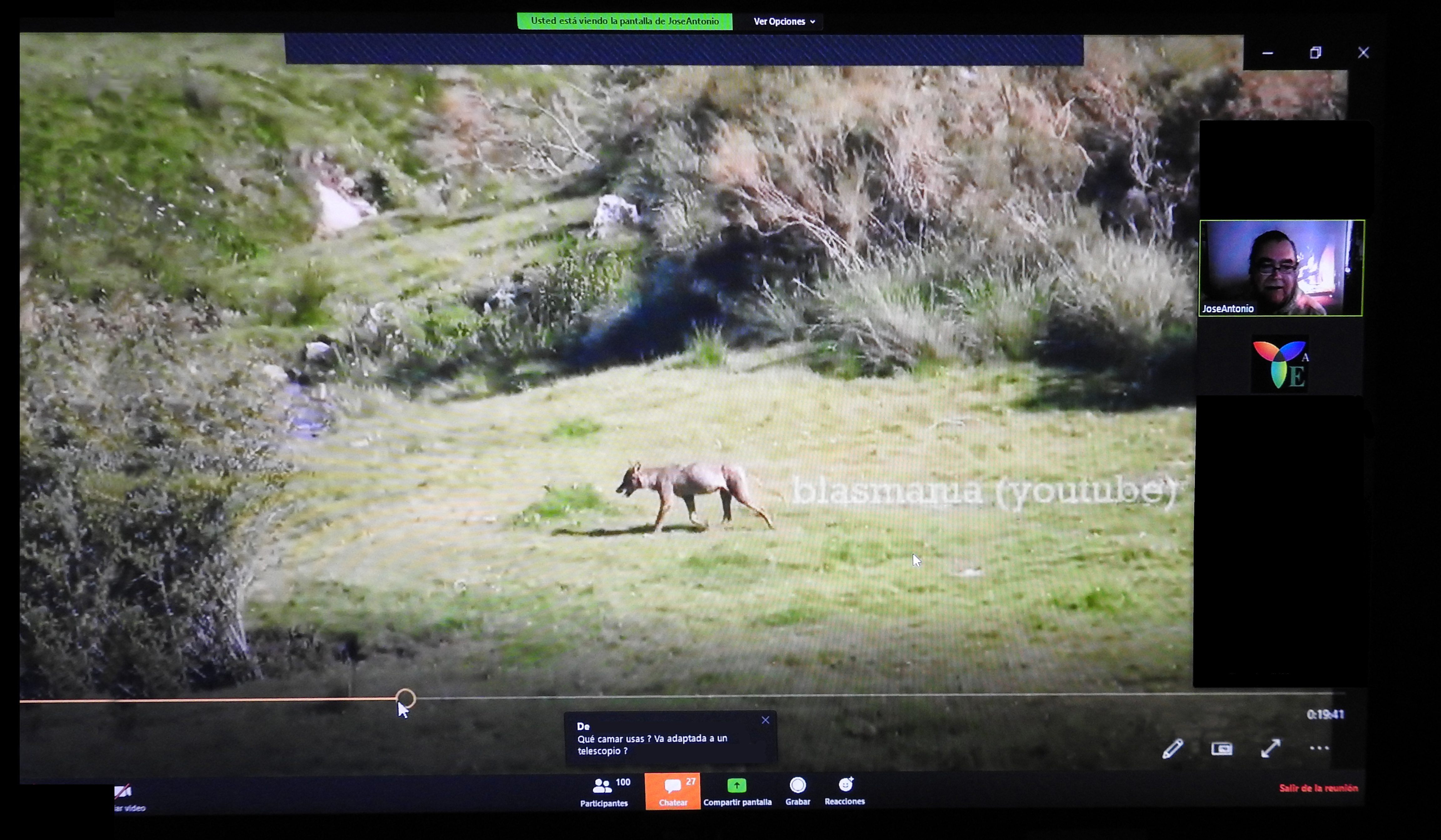 Un momento de la intervención de José Antonio 'Blas' de la Fuente en la videoconferencia sobre el lobo organizada por la asociación Ecotono