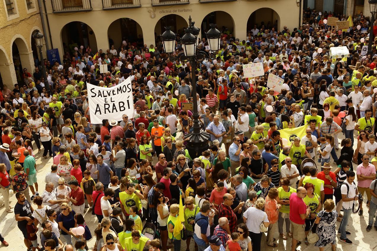 Momento de la masiva manifestación de ayer. Imagen: Plataforma Salvemos el Arabí y la Comarca