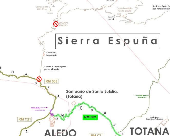 Mapa donde aparece señalizado el tramo de carretera cortado. Imagen: CARM