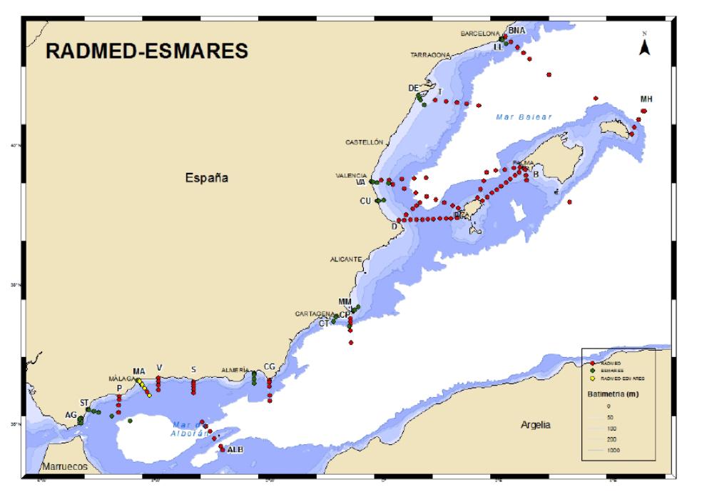 Estaciones Radmed y Esmares. Imagen: IEO
