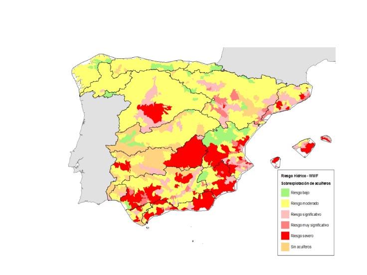 Grado de sobreexplotación de los acuíferos en España. Fuente: WWF España 2018