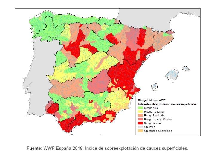 Índice de sobreexplotación de cauces superficiales. Fuente: WWF España 2018