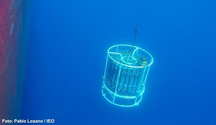 Los aparatos miden variables como la temperatura, la salinidad, el oxígeno disuelto, la clorofila, los nutrientes o la composición y abundancia de fitoplancton y zooplancton. Imagen: IEO