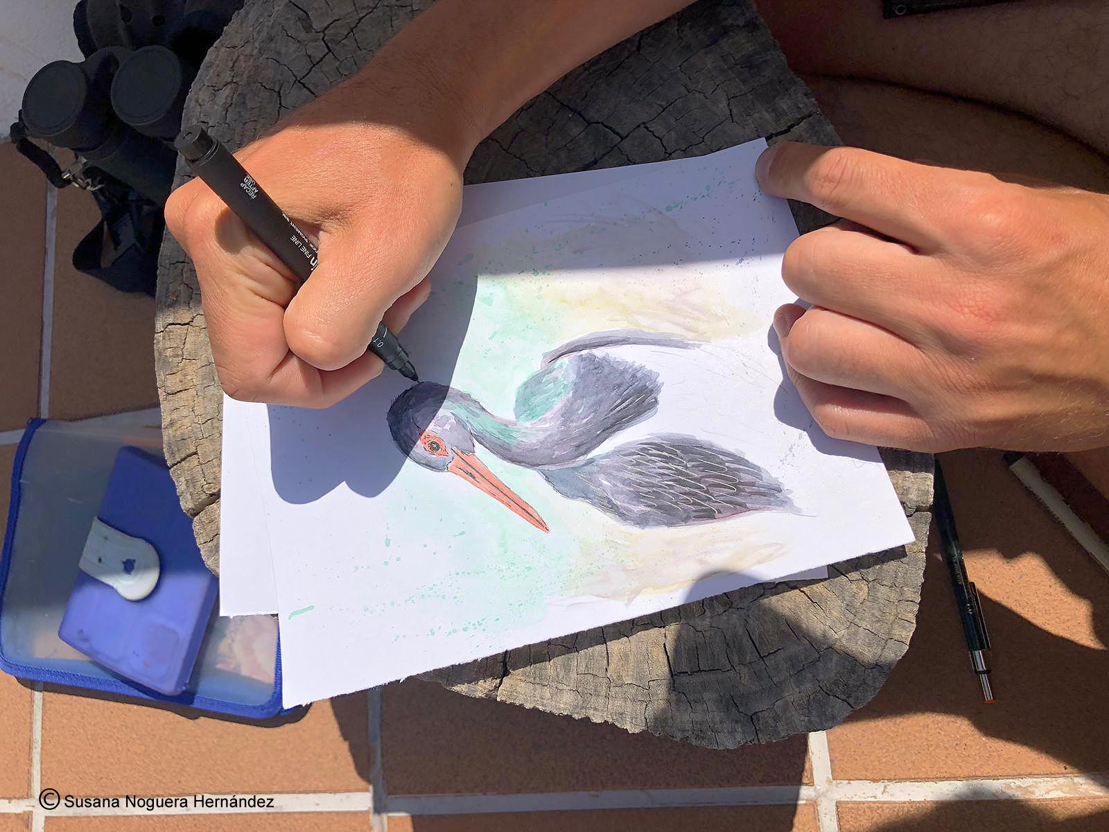 Miguel también había dibujado días atrás una cigüeña. Imagen: Susana Noguera Hernández