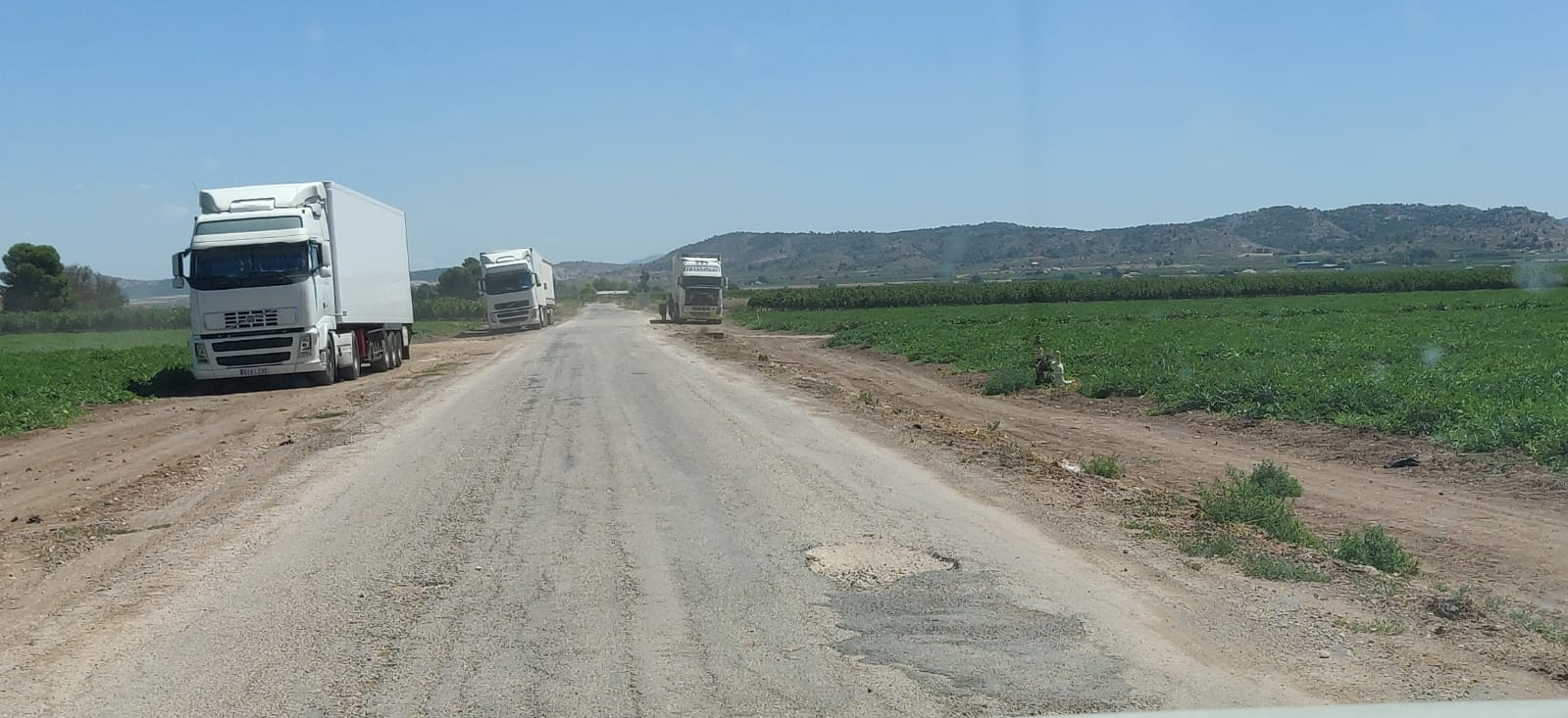 Los vecinos alertan del destrozo de los caminos rurales y de la generación de una gran polvareda por el tránsito continuo de camiones de gran tonelaje. Imagen: Plataforma Ciudadana Salvemos el Arabí y Comarca