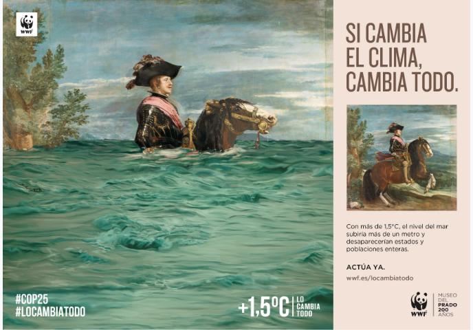 El nivel del mar sube hasta casi ahogar al caballo de Felipe IV, en la nueva campaña contra el Cambio Climático de WWF y el Museo del Prado