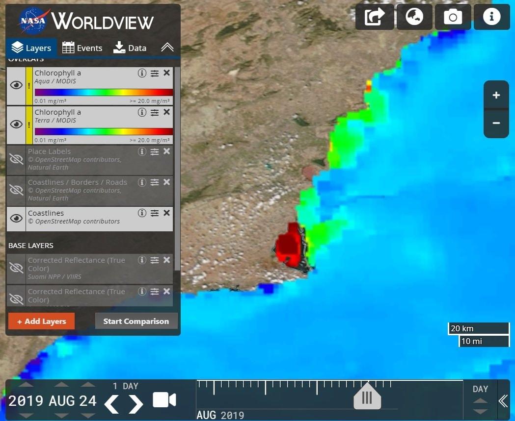 Imagen de la NASA publicada el pasado 24 de agosto, en la que se observa el nivel de clorofila en el Mar Menor, vista en Facebook