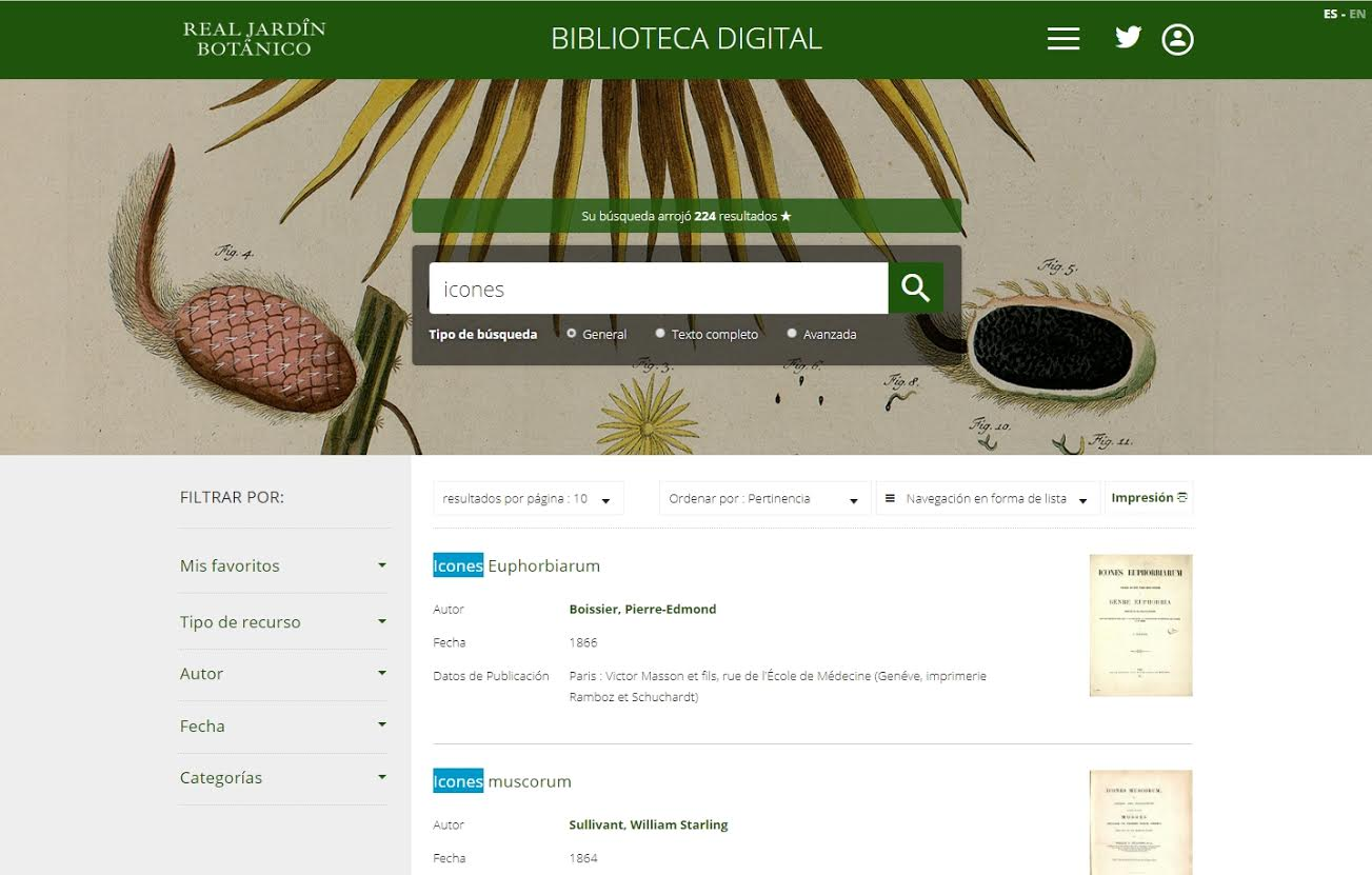 Página de búsqueda con resultados. Imagen: RJB-CSIC