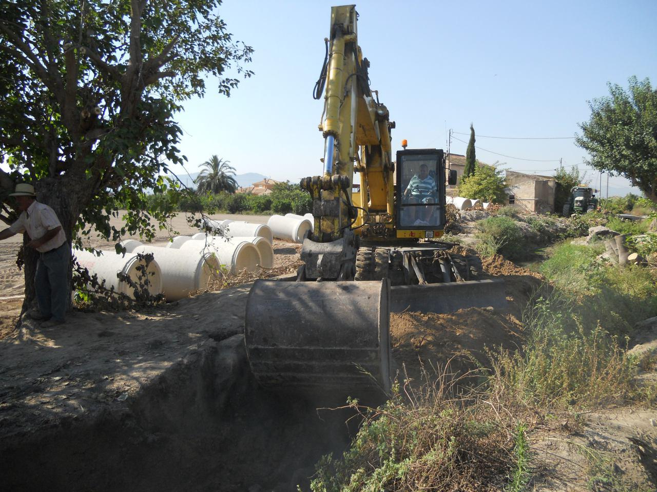 Obras en las acequias de la Huerta de Murcia. Imagen: Huermur