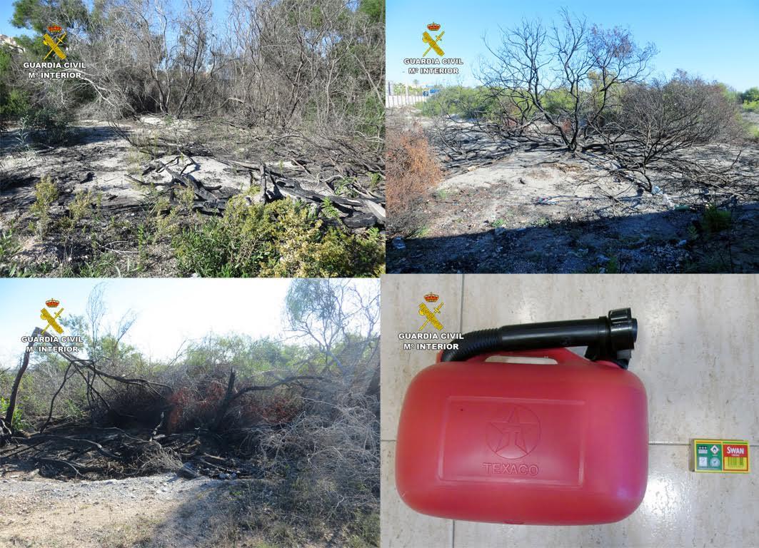 Tres áreas incendiadas por el octogenario, y la garrafa de cinco litros que portaba en el momento de su detención. Imagen: Guardia Civil