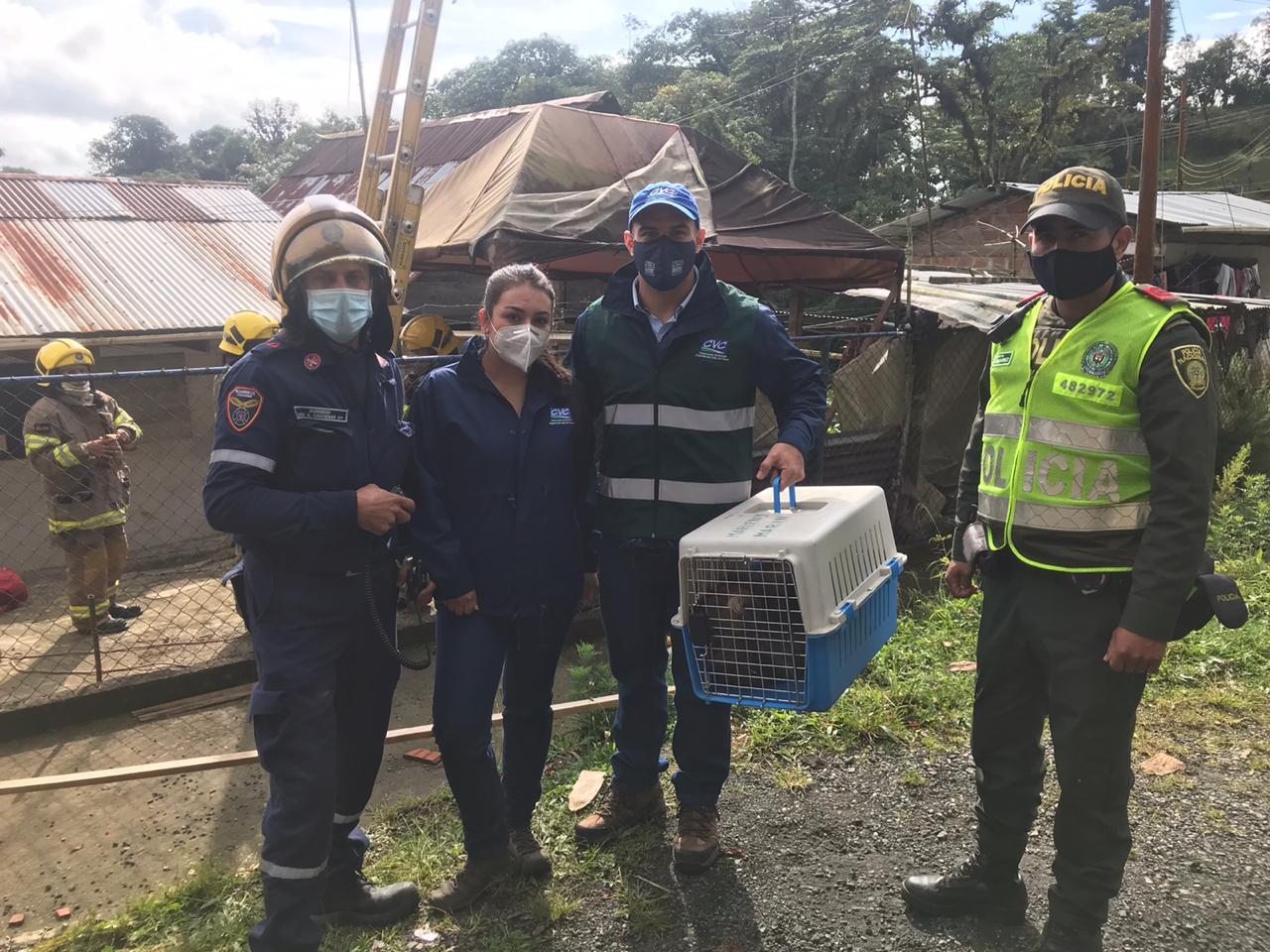 Equipo de rescate. Imagen: Corporación Autónoma Regional del Valle del Cauca (CVC)