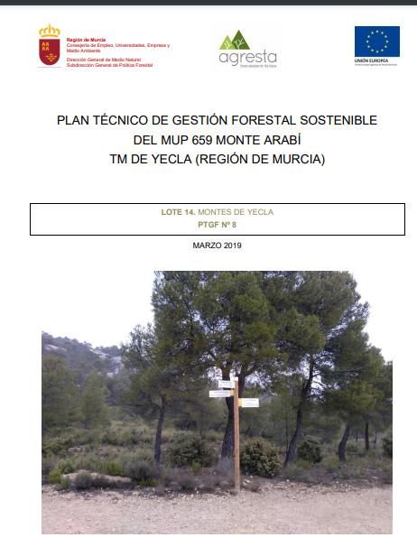 Portada del Plan Técnico de Gestión Forestal Sostenible del Monte Arabí. Imagen: CARM