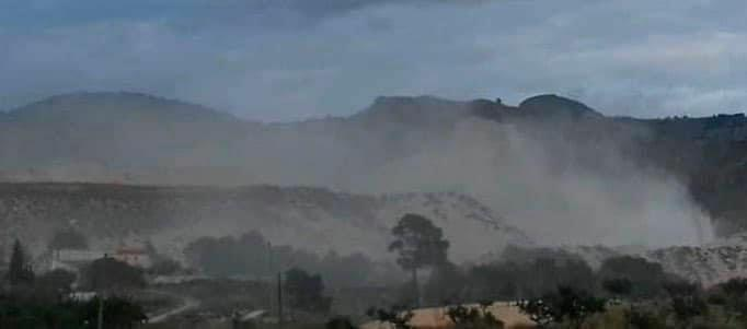 Planta de Molienda y generación de polvo en Peña Zafra, este año. Imagen: EEA