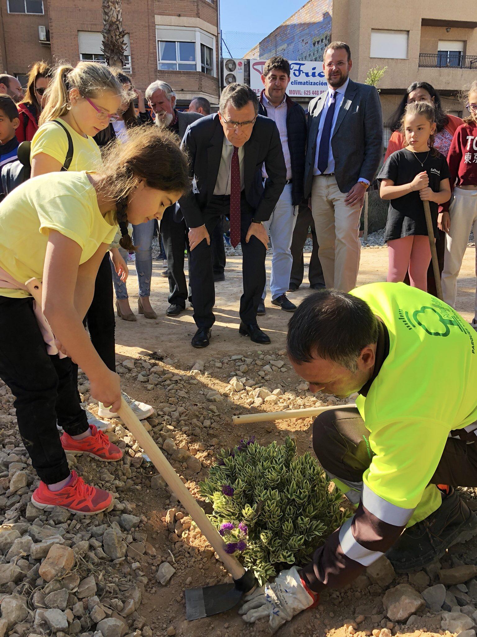 Una alumna, ayudada por un operario, se afana en la plantación, bajo la atenta mirada del alcalde de Murcia. Imagen: Ayto. de Murcia