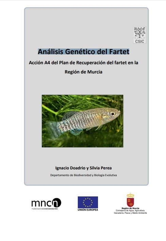 Portada del informe sobre el Análisis Genético del Fartet, de la CARM
