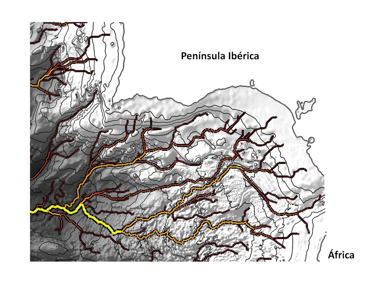 Ramales de la corriente salina del Mediterráneo al acceder al Atlántico. Imagen: M. Gasser / J.Ll. Pelegrí (ICM)