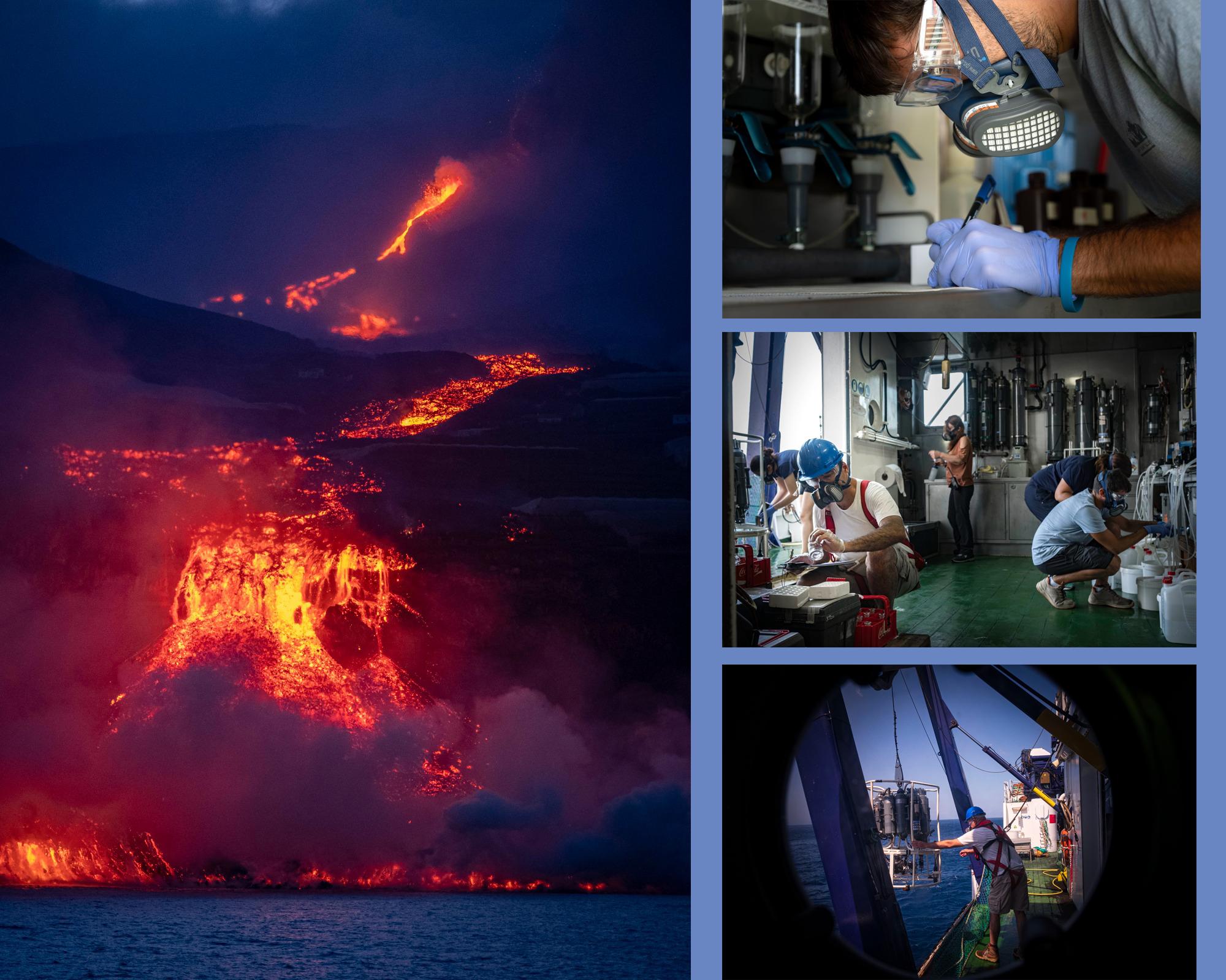 Imagen de la entrada de la lava en el agua, y trabajos a bordo del buque Ramón Margalef. Imágenes: Twitter del IEO