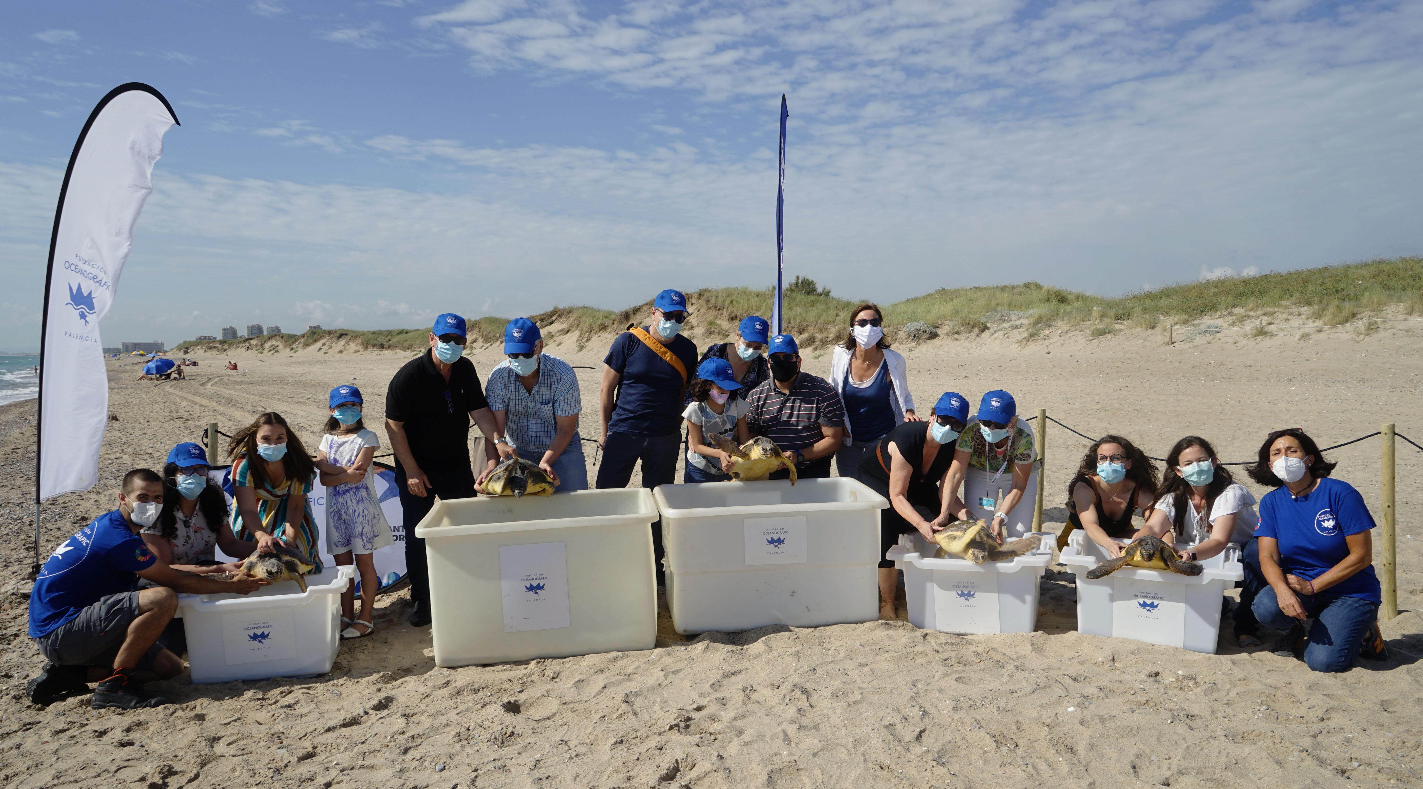 Los representantes de los seis hospitales muestran a las tortugas. Imagen: Fundación Oceanogràfic