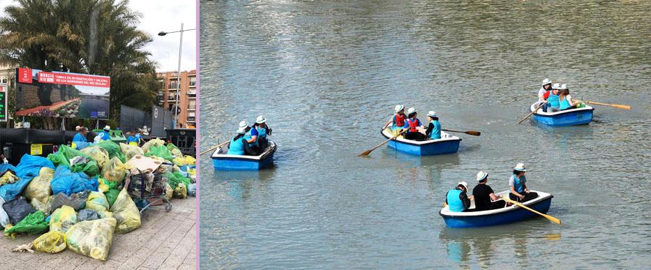 Dos momentos de la limpieza del río Segura. Imagen: Ayto. Murcia