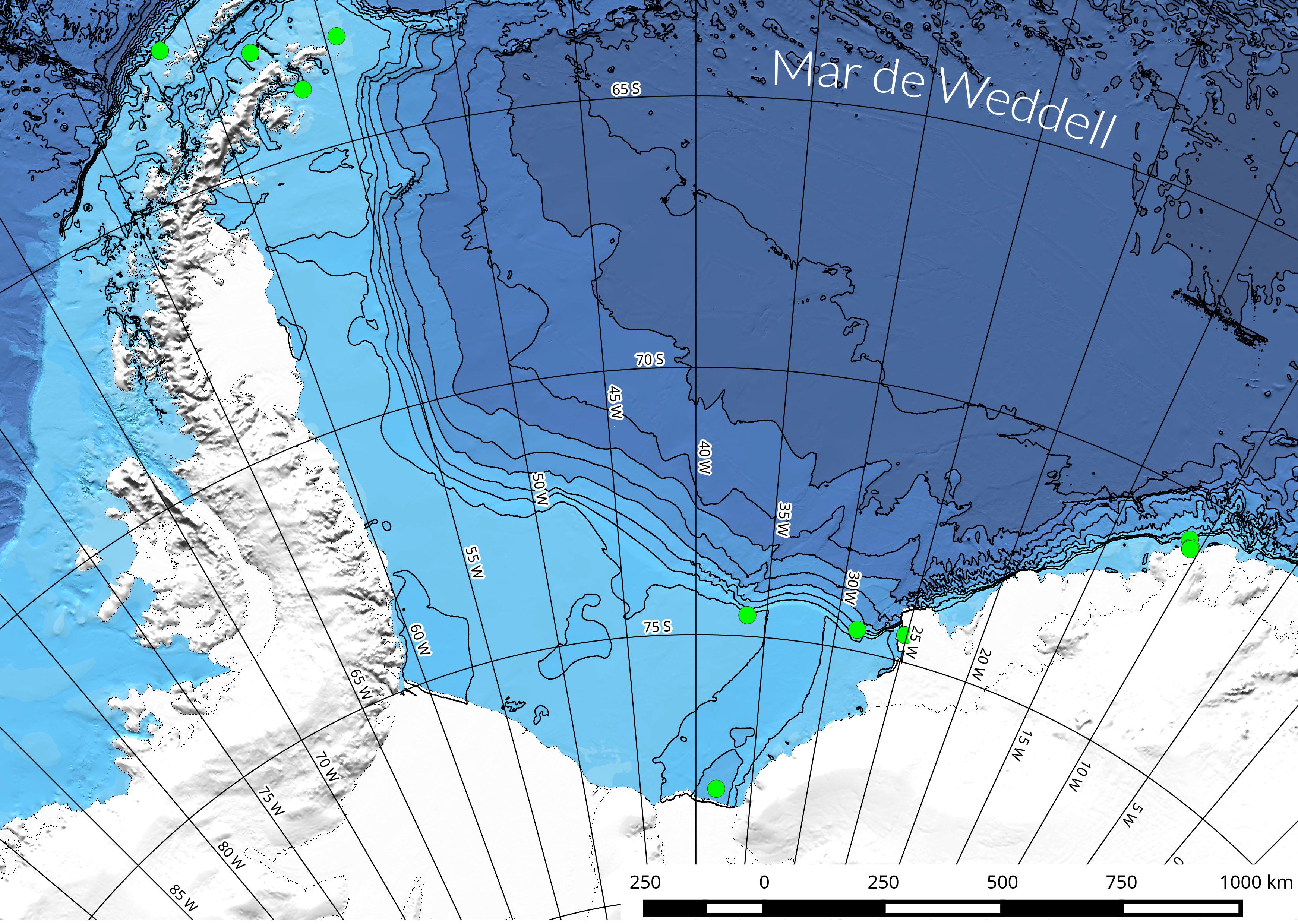 Se colocaron varias estaciones a lo largo de más de 4.000 kilómetros del Mar de Weddell. Imagen: CSIC