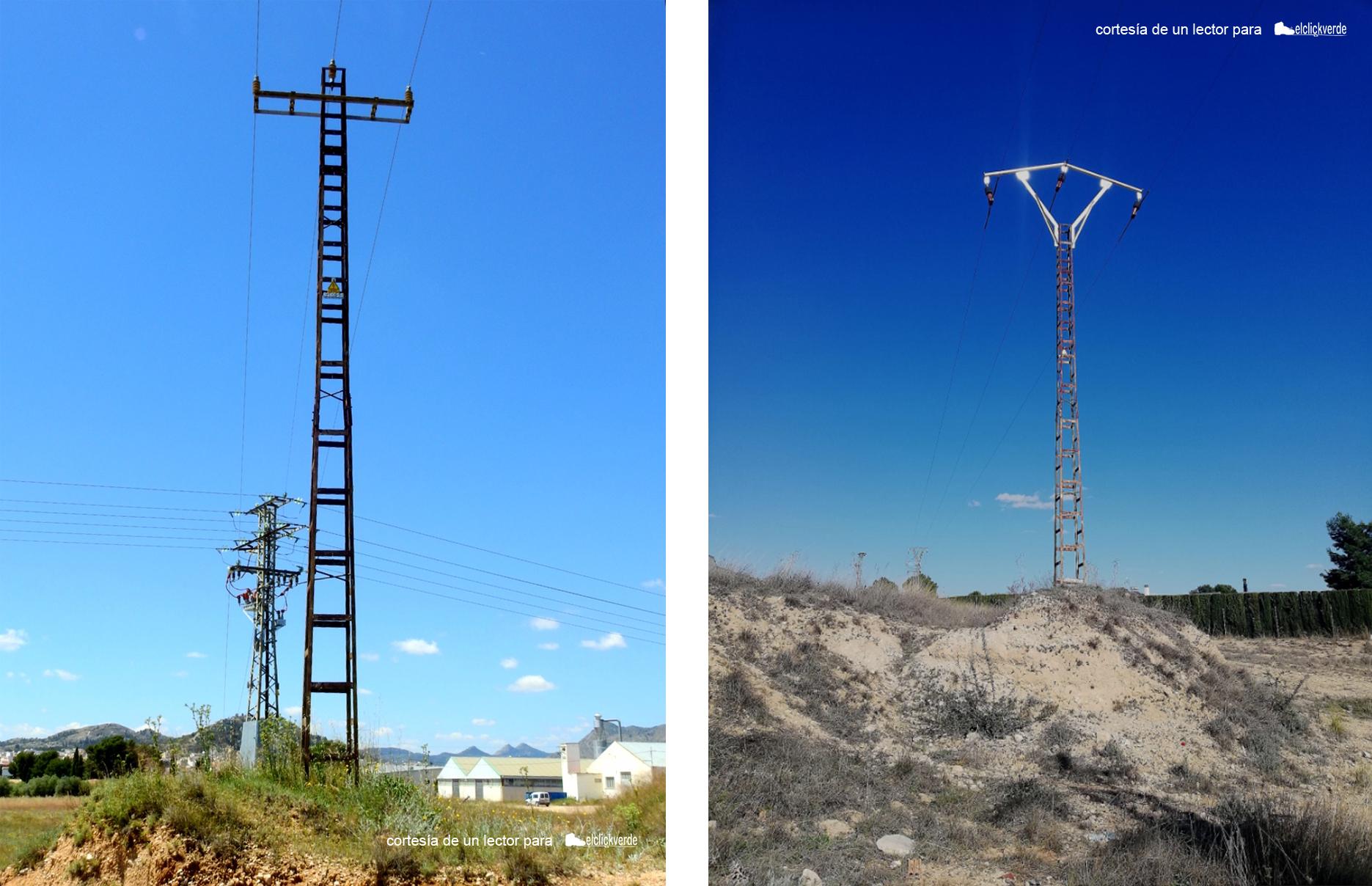 Izq.: imagen tomada hace un año. Dcha: imagen de esta semana. Antes y después de los arreglos del tendido eléctrico conflictivo en Yecla (tomas desde distintos puntos)