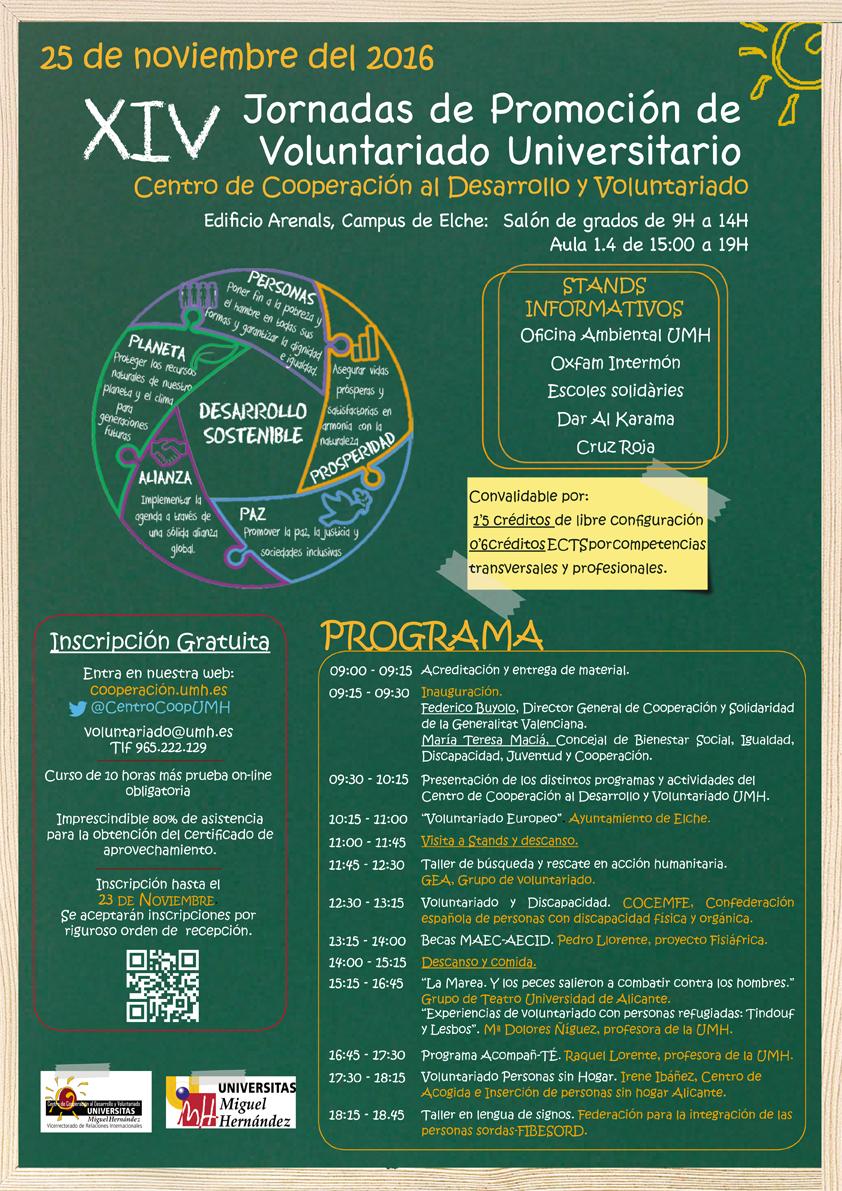Programa de las XIV Jornadas de Promoción de Voluntariado Universitariode la UMH