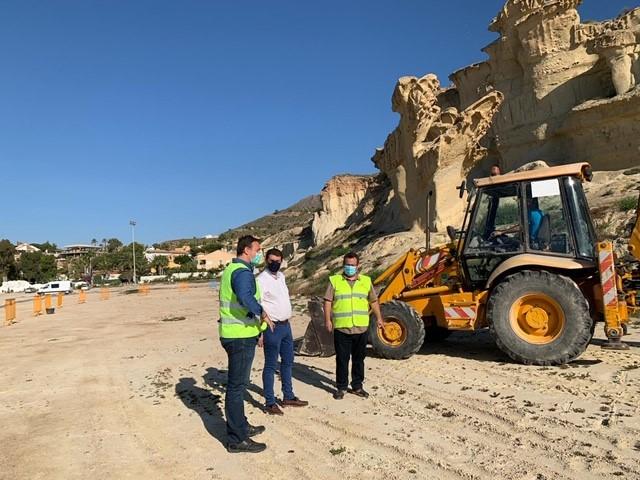 Las obras de vallado perimetral delas Gredas de Bolnuevo acaban de empezar. Imagen: CARM